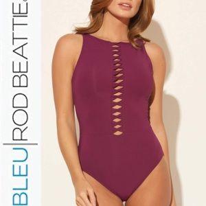 Bleu Rod Beattie High Neck Twist 1 Piece Swimsuit